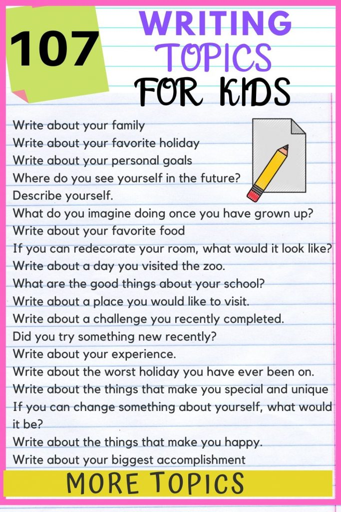 writing topics for kids