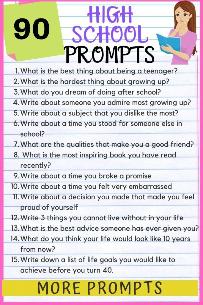 Creative writing prompts high school