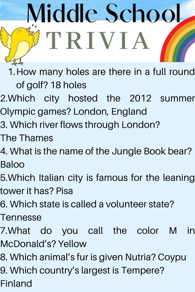 Middle school trivia questions for kids