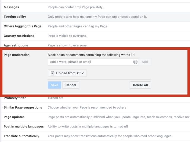 how to turn off comments on facebook page
