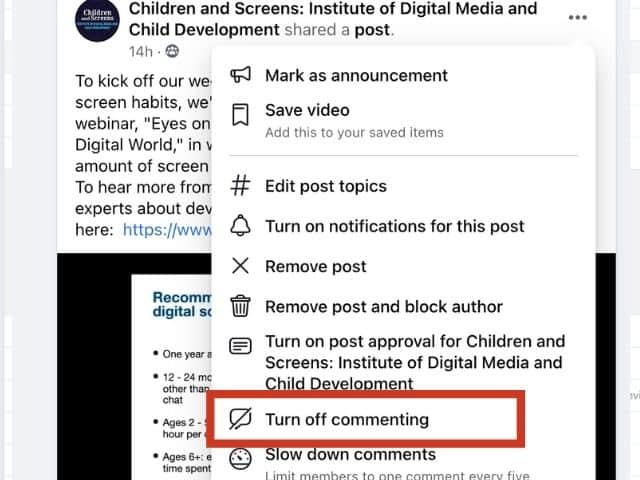 Turn off comments on Facebook post.